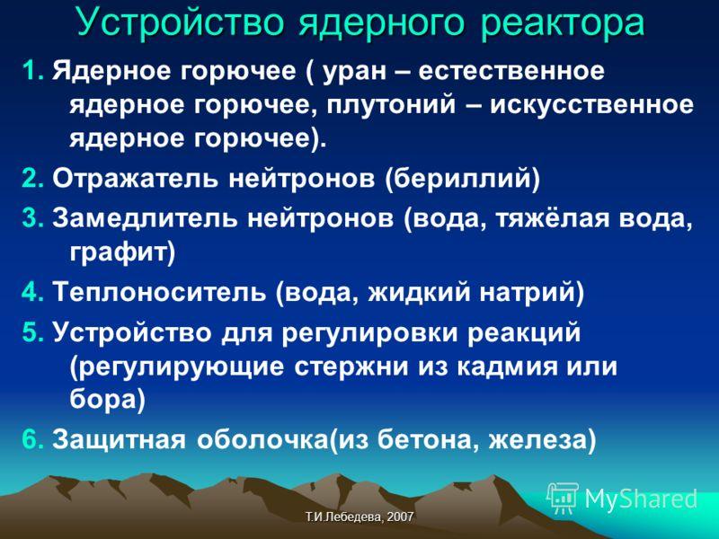 Т.И.Лебедева, 2007 Устройство ядерного реактора 1. Ядерное горючее ( уран – естественное ядерное горючее, плутоний – искусственное ядерное горючее). 2. Отражатель нейтронов (бериллий) 3. Замедлитель нейтронов (вода, тяжёлая вода, графит) 4. Теплоноси