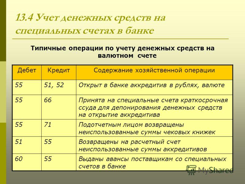 бух. учёт денежных средств на счетах в банке шпаргалка