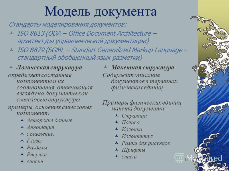 11 Модель документа Логическая структура определяет составные компоненты и их соотношения, отвечающая взгляду на документы как смысловые структуры примеры, основных смысловых компонент: Авторские данные Аннотация оглавление, Главы Разделы Рисунки сно