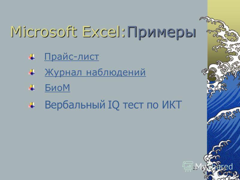 22 Microsoft Excel:Примеры Прайс-лист Журнал наблюдений БиоМ Вербальный IQ тест по ИКТ