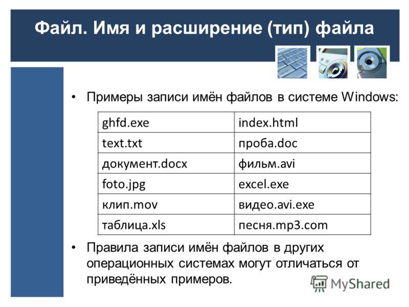 Файл. Имя и расширение (тип) файла Примеры записи имён файлов в системе Windows: Правила записи имён файлов в других операционных системах могут отличаться от приведённых примеров. ghfd.exeindex.html text.txtпроба.doc документ.docxфильм.avi foto.jpge