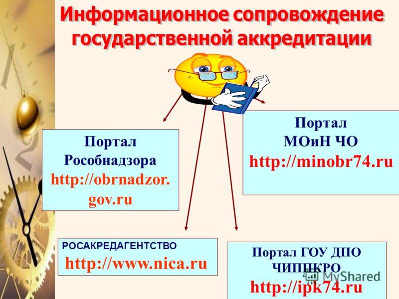 Портал Рособнадзора http://obrnadzor. gov.ru Портал МОиН ЧО http://minobr74.ru Портал ГОУ ДПО ЧИППКРО http://ipk74.ru РОСАКРЕДАГЕНТСТВО http://www.nica.ru