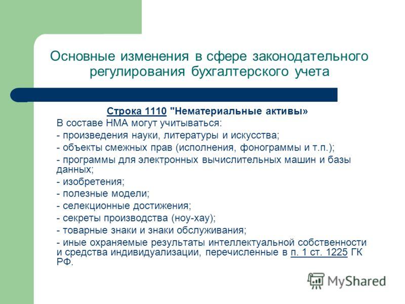 Основные изменения в сфере законодательного регулирования бухгалтерского учета Строка 1110Строка 1110