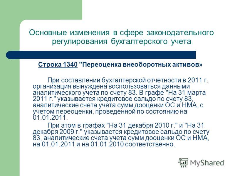 Основные изменения в сфере законодательного регулирования бухгалтерского учета Строка 1340Строка 1340