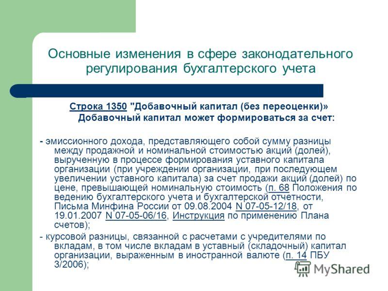 Основные изменения в сфере законодательного регулирования бухгалтерского учета Строка 1350Строка 1350