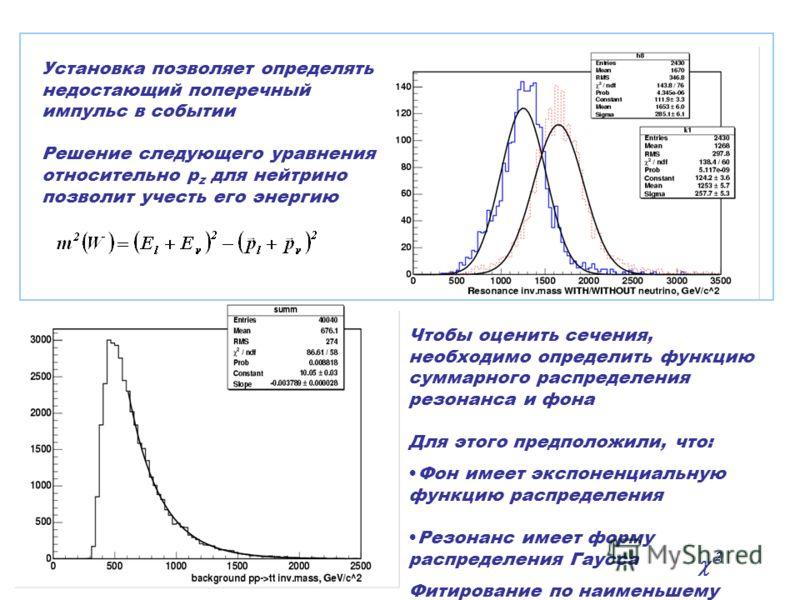 Установка позволяет определять недостающий поперечный импульс в событии Решение следующего уравнения относительно p z для нейтрино позволит учесть его энергию Чтобы оценить сечения, необходимо определить функцию суммарного распределения резонанса и ф
