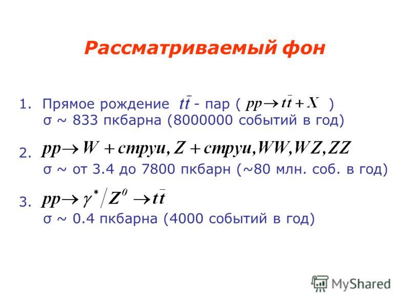 1. Прямое рождение - пар ( ) σ ~ 833 пкбарна (8000000 событий в год) 2. σ ~ от 3.4 до 7800 пкбарн (~80 млн. соб. в год) 3. σ ~ 0.4 пкбарна (4000 событий в год) Рассматриваемый фон
