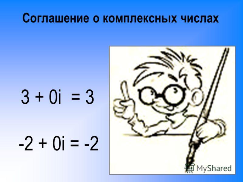 Соглашение о комплексных числах 3 + 0i = 3 -2 + 0i = -2