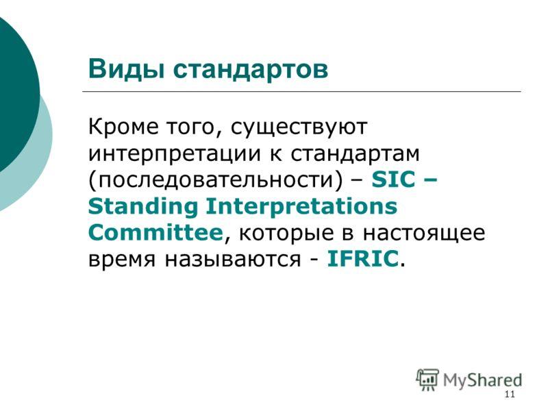 11 Виды стандартов Кроме того, существуют интерпретации к стандартам (последовательности) – SIC – Standing Interpretations Committee, которые в настоящее время называются - IFRIC.