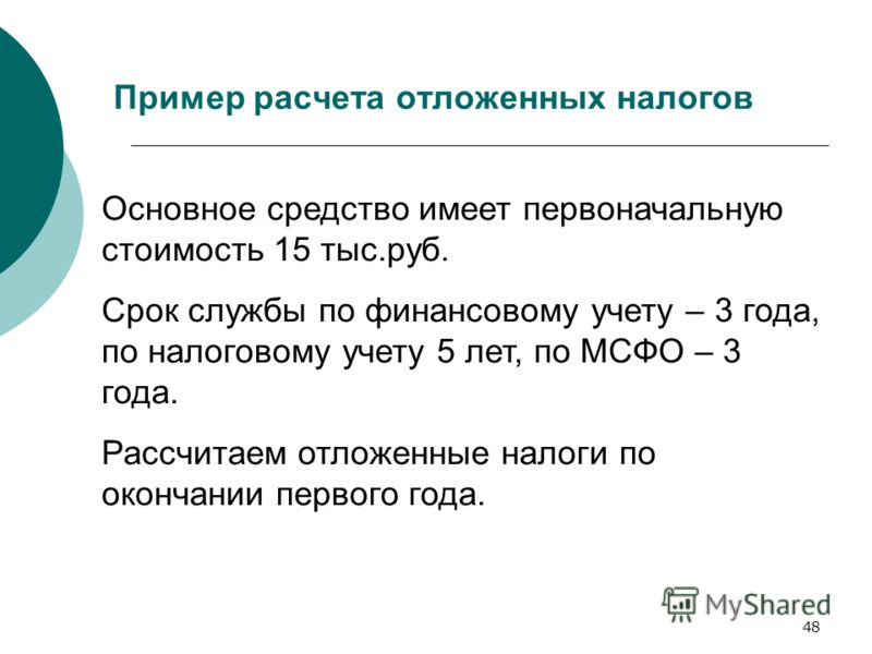 48 Пример расчета отложенных налогов Основное средство имеет первоначальную стоимость 15 тыс.руб. Срок службы по финансовому учету – 3 года, по налоговому учету 5 лет, по МСФО – 3 года. Рассчитаем отложенные налоги по окончании первого года.