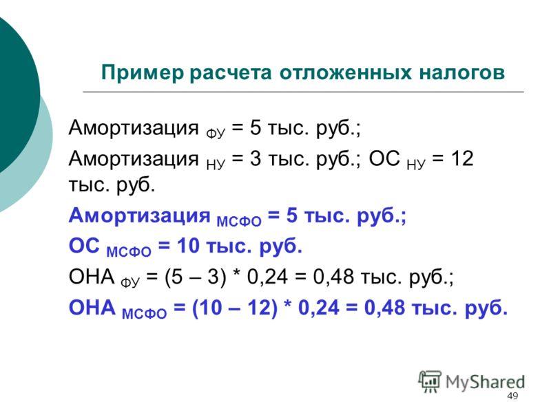 49 Пример расчета отложенных налогов Амортизация ФУ = 5 тыс. руб.; Амортизация НУ = 3 тыс. руб.; ОС НУ = 12 тыс. руб. Амортизация МСФО = 5 тыс. руб.; ОС МСФО = 10 тыс. руб. ОНА ФУ = (5 – 3) * 0,24 = 0,48 тыс. руб.; ОНА МСФО = (10 – 12) * 0,24 = 0,48