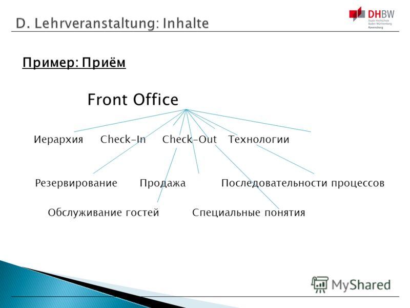 Пример: Приём Front Office ИерархияCheck-In Check-Out Технологии РезервированиеПродажа Последовательности процессов Обслуживание гостейСпециальные понятия