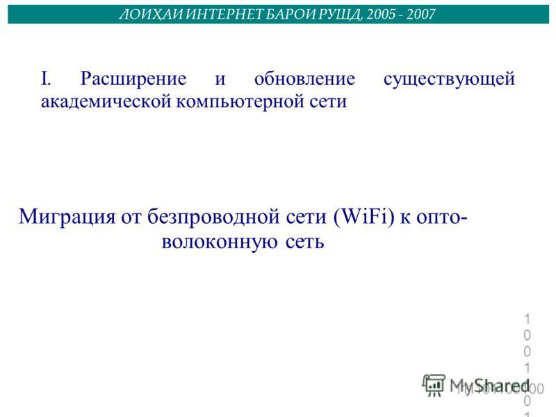 111101100100 1001101101110011011011 ЛОИҲАИ ИНТЕРНЕТ БАРОИ РУШД, 2005 - 2007 I. Расширение и обновление существующей академической компьютерной сети Миграция от безпроводной сети (WiFi) к опто- волоконную сеть