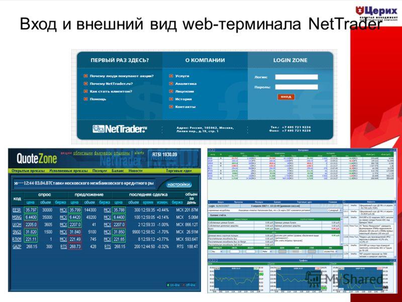 Вход и внешний вид web-терминала NetTrader