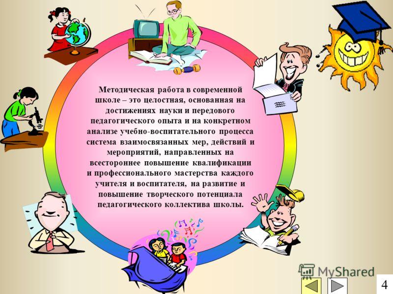 Методическая работа в современной школе – это целостная, основанная на достижениях науки и передового педагогического опыта и на конкретном анализе учебно-воспитательного процесса система взаимосвязанных мер, действий и мероприятий, направленных на в