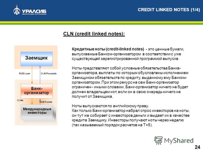 Кредитные ноты (credit-linked notes) - это ценные бумаги, выпускаемые Банком-организатором в соответствии с уже существующей зарегистрированной программой выпуска. Ноты представляют собой условные обязательства Банка- организатора, выплаты по которым