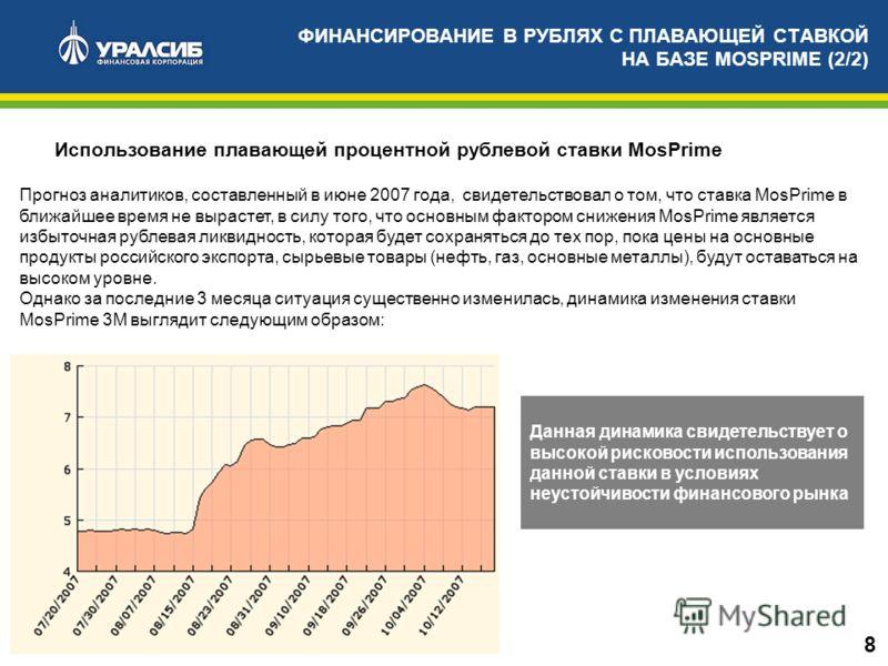 Использование плавающей процентной рублевой ставки MosPrime Прогноз аналитиков, составленный в июне 2007 года, свидетельствовал о том, что ставка MosPrime в ближайшее время не вырастет, в силу того, что основным фактором снижения MosPrime является из