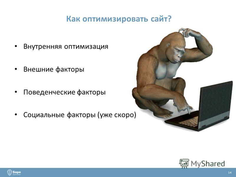 Как оптимизировать сайт? 14 Внутренняя оптимизация Внешние факторы Поведенческие факторы Социальные факторы (уже скоро)