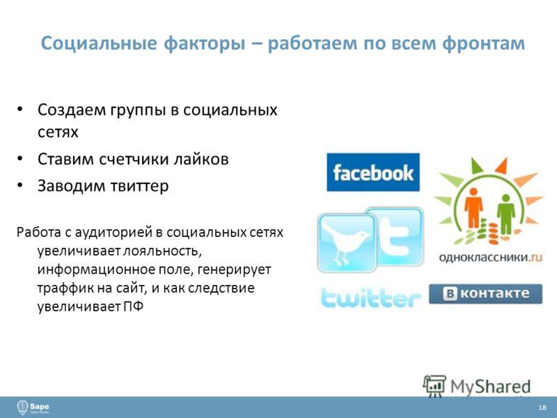Создаем группы в социальных сетях Ставим счетчики лайков Заводим твиттер Работа с аудиторией в социальных сетях увеличивает лояльность, информационное поле, генерирует траффик на сайт, и как следствие увеличивает ПФ 18 Социальные факторы – работаем п