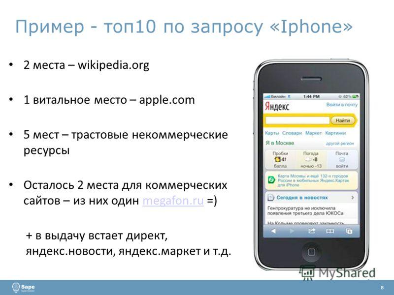 Пример - топ10 по запросу «Iphone» 2 места – wikipedia.org 1 витальное место – apple.com 5 мест – трастовые некоммерческие ресурсы Осталось 2 места для коммерческих сайтов – из них один megafon.ru =)megafon.ru + в выдачу встает директ, яндекс.новости