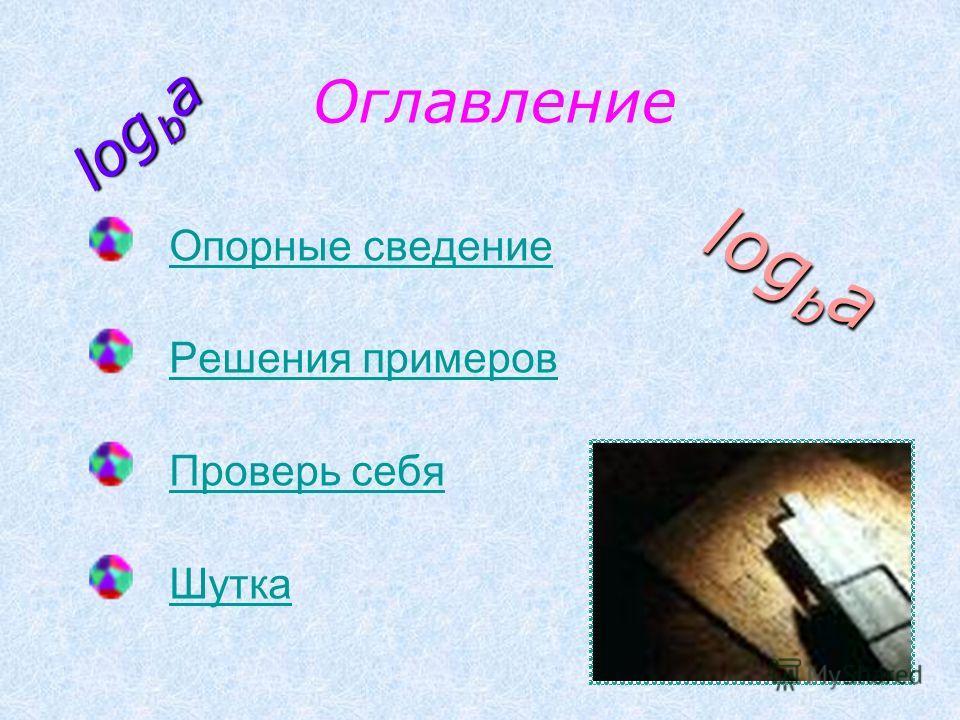 Оглавление Опорные сведение Решения примеров Проверь себя Шутка log b a