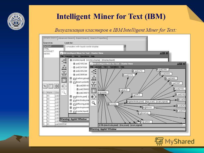 © ElVisti15 Intelligent Miner for Text (IBM) Визуализация кластеров в IBM Intelligent Miner for Text :