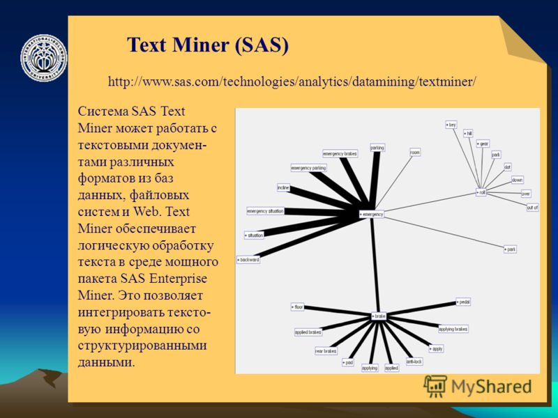 © ElVisti18 Text Miner (SAS) http://www.sas.com/technologies/analytics/datamining/textminer/ Система SAS Text Miner может работать с текстовыми докумен- тами различных форматов из баз данных, файловых систем и Web. Text Miner обеспечивает логическую