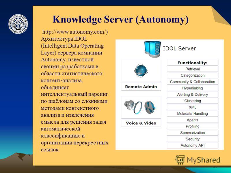 © ElVisti23 Knowledge Server (Autonomy) http://www.autonomy.com/) Архитектура IDOL (Intelligent Data Operating Layer) сервера компании Autonomy, известной своими разработками в области статистического контент-анализа, объединяет интеллектуальный парс