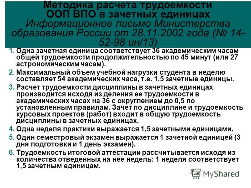 Методика расчета трудоемкости ООП ВПО в зачетных единицах Информационное письмо Министерства образования России от 28.11.2002 года ( 14- 52-98 ин/13) 1.Одна зачетная единица соответствует 36 академическим часам общей трудоемкости продолжительностью п