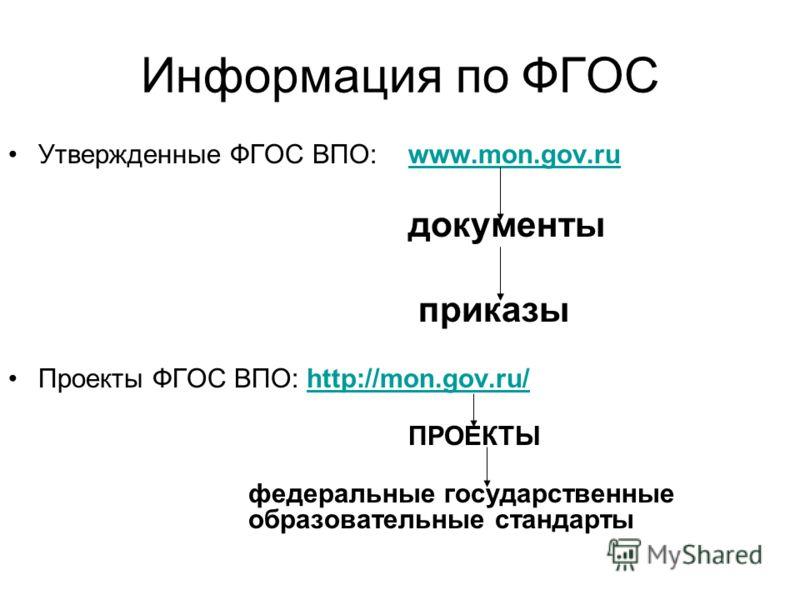 Информация по ФГОС Утвержденные ФГОС ВПО: www.mon.gov.ruwww.mon.gov.ru документы приказы Проекты ФГОС ВПО: http://mon.gov.ru/http://mon.gov.ru/ ПРОЕКТЫ федеральные государственные образовательные стандарты