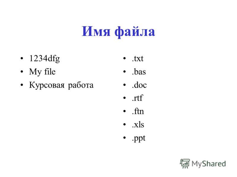 Имя файла 1234dfg My file Курсовая работа.txt.bas.doc.rtf.ftn.xls.ppt