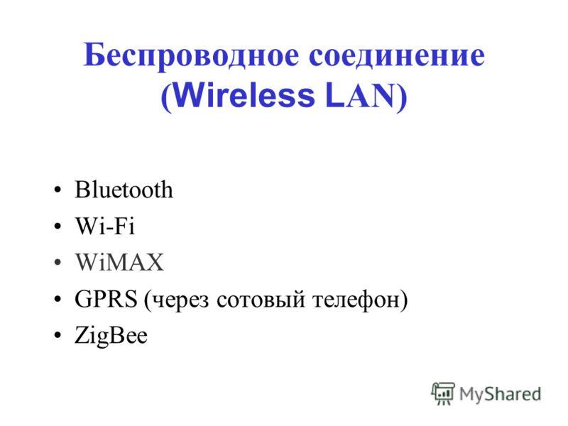 Беспроводное соединение ( Wireless L AN) Bluetooth Wi-Fi WiMAX GPRS (через сотовый телефон) ZigBee
