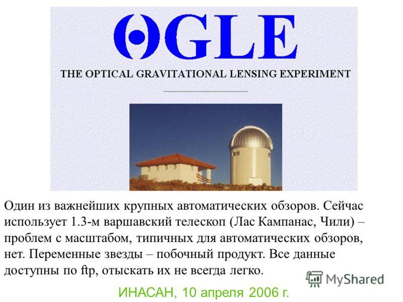 ИНАСАН, 10 апреля 2006 г. Один из важнейших крупных автоматических обзоров. Сейчас использует 1.3-м варшавский телескоп (Лас Кампанас, Чили) – проблем с масштабом, типичных для автоматических обзоров, нет. Переменные звезды – побочный продукт. Все да