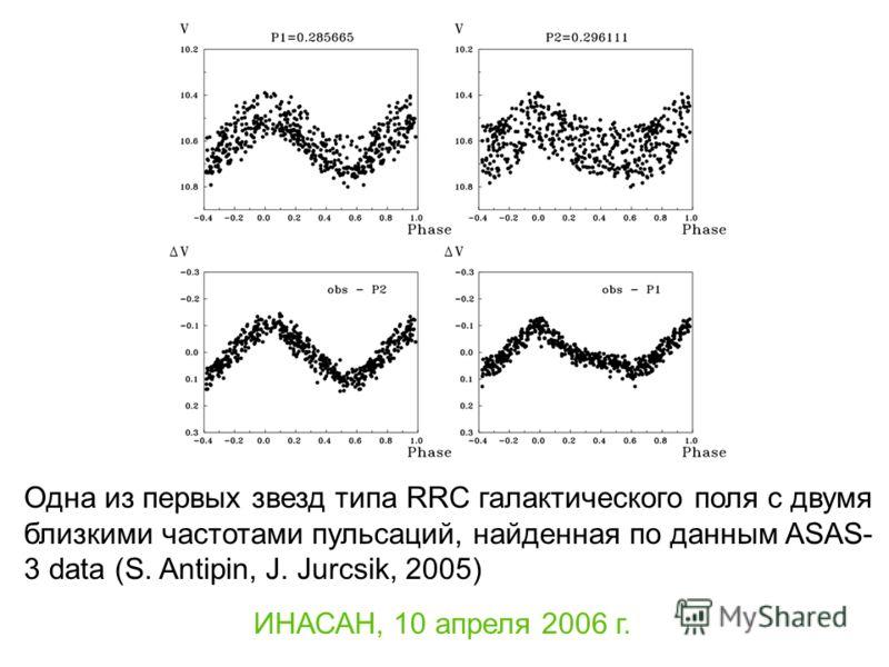ИНАСАН, 10 апреля 2006 г. Одна из первых звезд типа RRC галактического поля с двумя близкими частотами пульсаций, найденная по данным ASAS- 3 data (S. Antipin, J. Jurcsik, 2005)