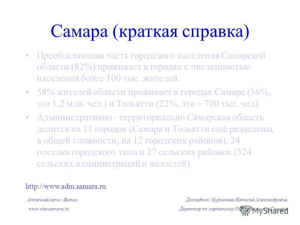 Преобладающая часть городского населения Самарской области (82%) проживает в городах с численностью населения более 100 тыс. жителей. 58% жителей области проживает в городах Самаре (36%, это 1,2 млн. чел.) и Тольятти (22%, это ~ 700 тыс. чел). Админи