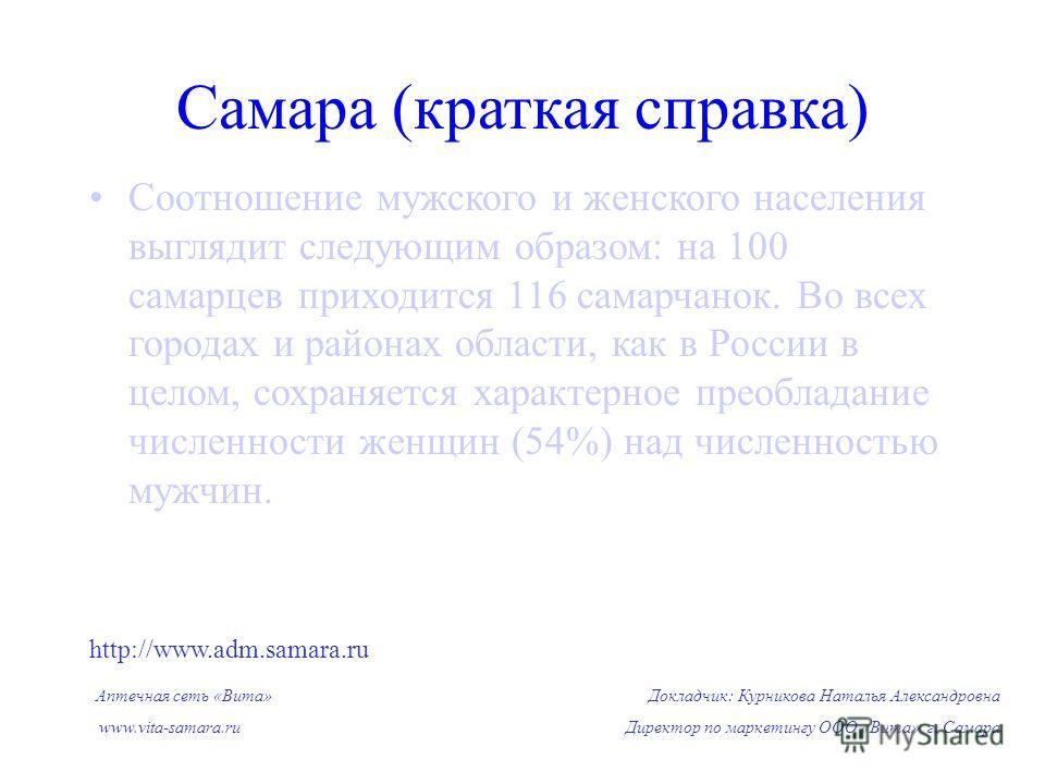 Соотношение мужского и женского населения выглядит следующим образом: на 100 самарцев приходится 116 самарчанок. Во всех городах и районах области, как в России в целом, сохраняется характерное преобладание численности женщин (54%) над численностью м