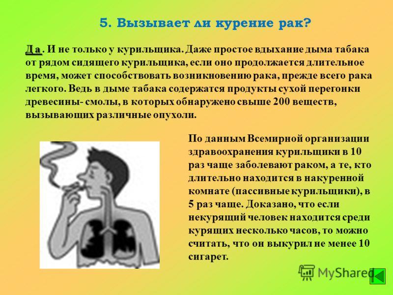 5. Вызывает ли курение рак? Да Да. И не только у курильщика. Даже простое вдыхание дыма табака от рядом сидящего курильщика, если оно продолжается длительное время, может способствовать возникновению рака, прежде всего рака легкого. Ведь в дыме табак
