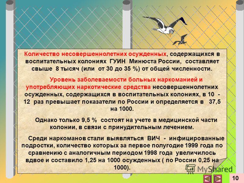 Количество несовершеннолетних осужденных, содержащихся в воспитательных колониях ГУИН Минюста России, составляет свыше 8 тысяч (или от 30 до 35 %) от общей численности. Уровень заболеваемости больных наркоманией и употребляющих наркотические средства