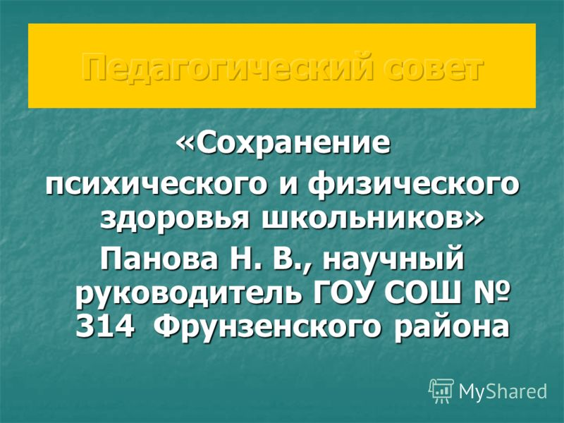 «Сохранение психического и физического здоровья школьников» Панова Н. В., научный руководитель ГОУ СОШ 314 Фрунзенского района