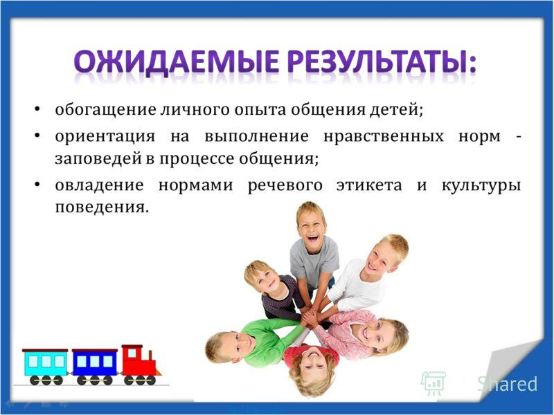 обогащение личного опыта общения детей; ориентация на выполнение нравственных норм - заповедей в процессе общения; овладение нормами речевого этикета и культуры поведения.