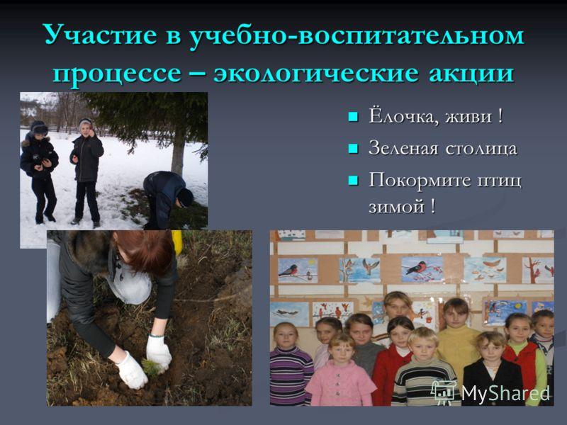 Участие в учебно-воспитательном процессе – экологические акции Ёлочка, живи ! Зеленая столица Покормите птиц зимой !