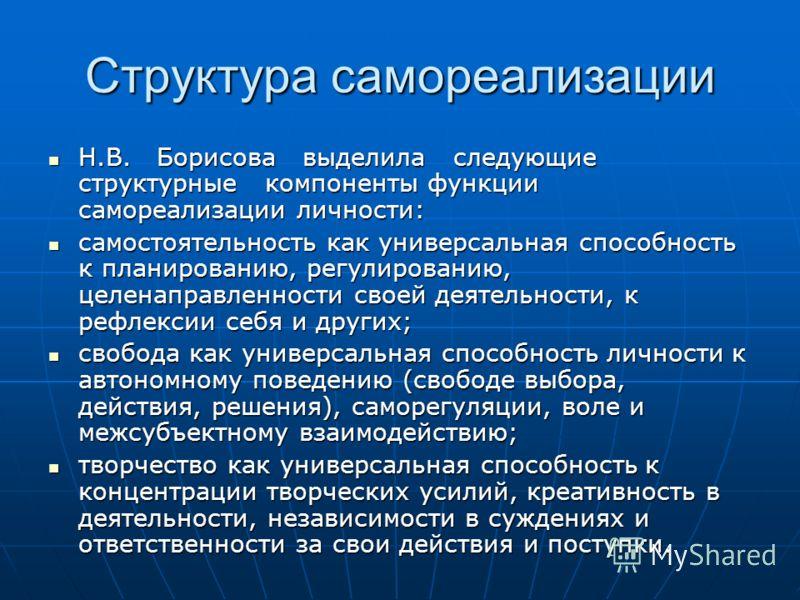 Структура самореализации Н.В. Борисова выделила следующие структурные компоненты функции самореализации личности: Н.В. Борисова выделила следующие структурные компоненты функции самореализации личности: самостоятельность как универсальная способность