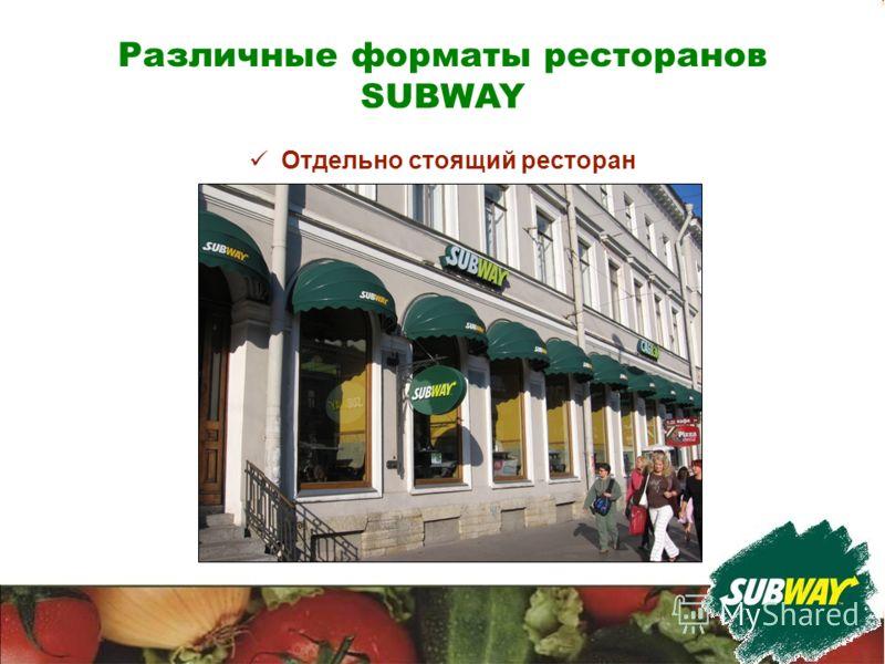 Различные форматы ресторанов SUBWAY Отдельно стоящий ресторан