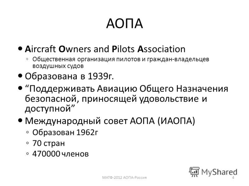 АОПА Aircraft Owners and Pilots Association Общественная организация пилотов и граждан-владельцев воздушных судов Образована в 1939г. Поддерживать Авиацию Общего Назначения безопасной, приносящей удовольствие и доступной Международный совет АОПА (ИАО