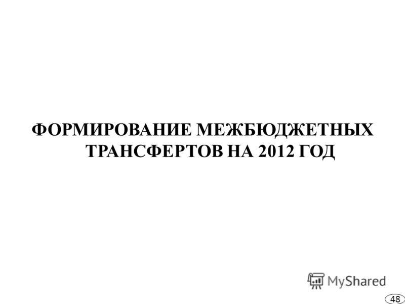 ФОРМИРОВАНИЕ МЕЖБЮДЖЕТНЫХ ТРАНСФЕРТОВ НА 2012 ГОД 48