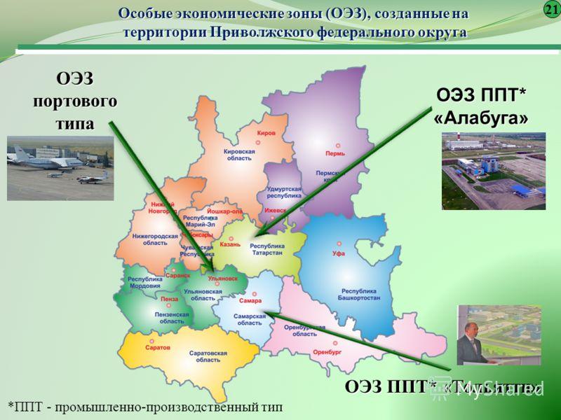 Особые экономические зоны (ОЭЗ), созданные на территории Приволжского федерального округа ОЭЗ портового типа ОЭЗ ППТ* «Алабуга» ОЭЗ ППТ* «Тольятти» *ППТ - промышленно-производственный тип 21