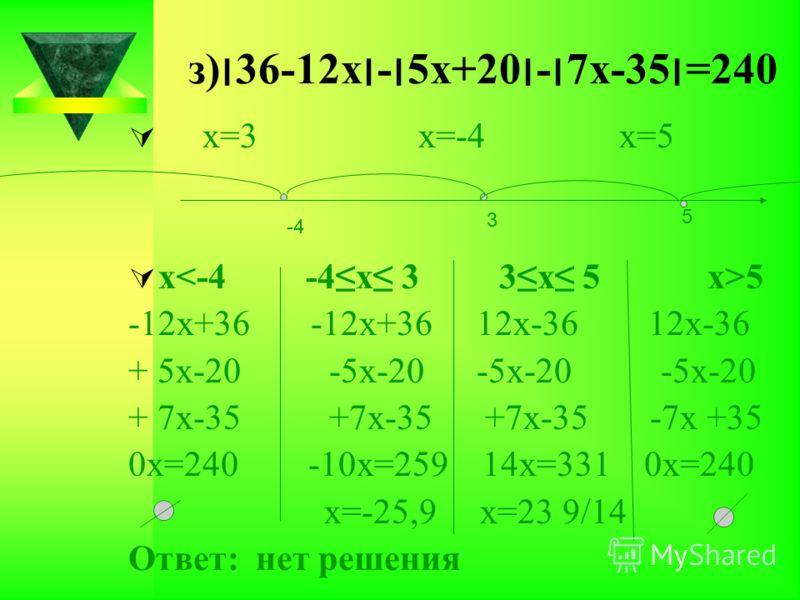 з)׀36-12х׀-׀5х+20׀-׀7х-35׀=240 х=3 х=-4 х=5 х 5 -12х+36 -12х+36 12х-36 12х-36 + 5х-20 -5х-20 -5х-20 -5х-20 + 7х-35 +7х-35 +7х-35 -7х +35 0х=240 -10х=259 14х=331 0х=240 х=-25,9 х=23 9/14 Ответ: нет решения -4 3 5