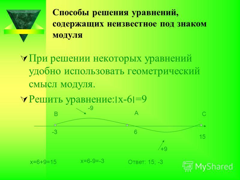 Способы решения уравнений, содержащих неизвестное под знаком модуля При решении некоторых уравнений удобно использовать геометрический смысл модуля. Решить уравнение:׀х-6׀=9 -3 6 15 В А С +9 -9 х=6+9=15 х=6-9=-3 Ответ: 15; -3