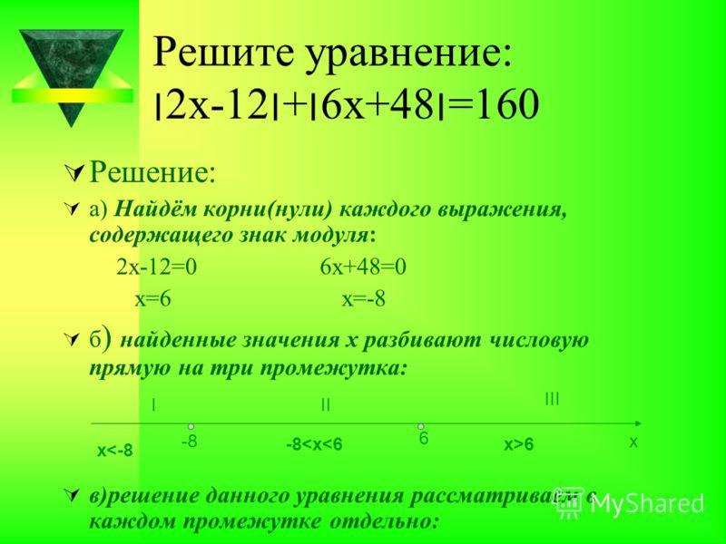 Решите уравнение: ׀2х-12׀+׀6х+48׀=160 Решение: а) Найдём корни(нули) каждого выражения, содержащего знак модуля: 2х-12=0 6х+48=0 х=6 х=-8 б ) найденные значения х разбивают числовую прямую на три промежутка: в)решение данного уравнения рассматриваем