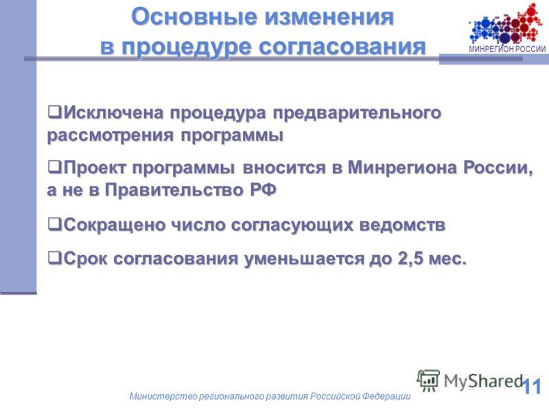 МИНРЕГИОН РОССИИ Министерство регионального развития Российской Федерации 11 Министерство регионального развития Российской Федерации 11 Исключена процедура предварительного рассмотрения программы Исключена процедура предварительного рассмотрения про